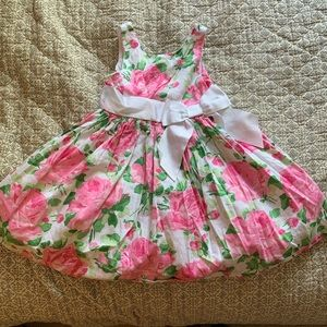 Janie and Jack Formal Pink Floral Bow Dress- Sz 3